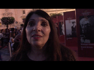 Lucia Sardo durante l'intervista per Suggestioni Press sul red carpet del Taormina Film Fest 2019